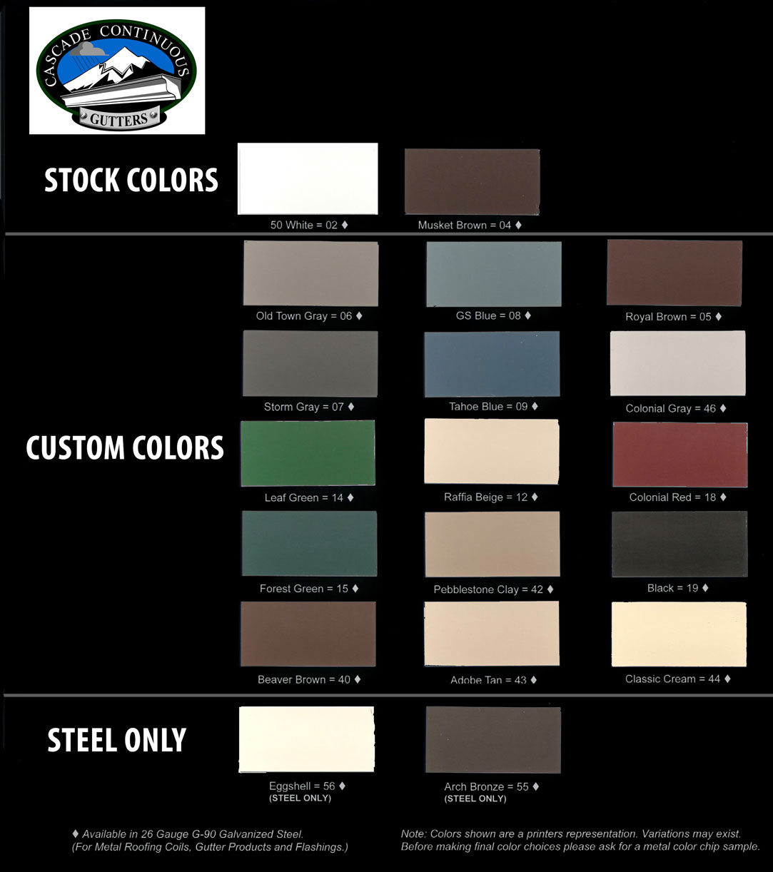 Color Guide for Steel and Aluminum Gutters